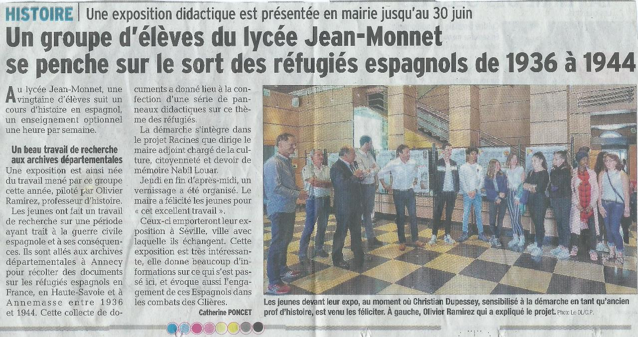 Vernissage de l'expo le 7 juin 2018 dans le hall de la mairie d'Annemasse